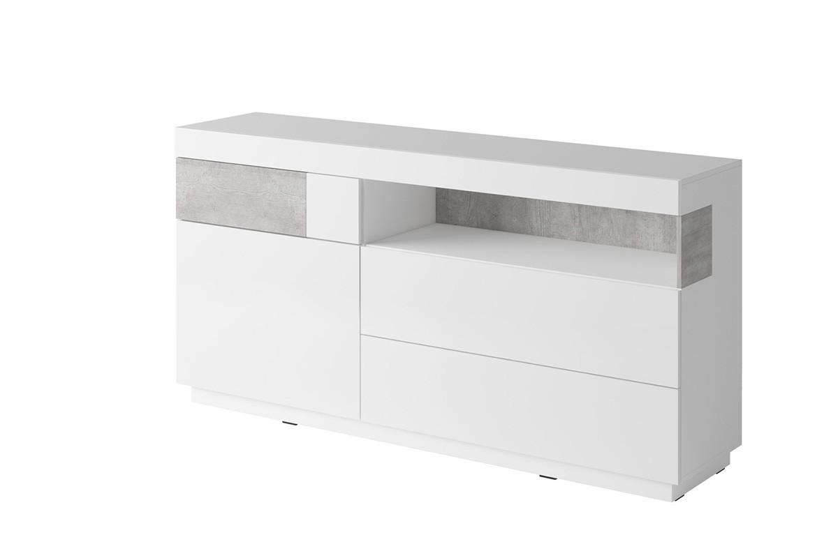 Komoda z witryną 170 cm z półkami i szufladami modern biała / szara