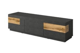SILKE, https://konsimo.pl/kolekcja/silke/ Szafka rtv 205 cm z półkami modern antracytowa / dąb antracyt/dąb wotan - zdjęcie