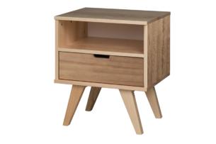 MONTI, https://konsimo.pl/kolekcja/monti/ Stolik nocny z szufladą w skandynawskim stylu naturalny dąb - zdjęcie