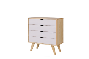 MONTI, https://konsimo.pl/kolekcja/monti/ Komoda z szufladami w stylu skandynawskim biała / naturalna dąb/biały - zdjęcie