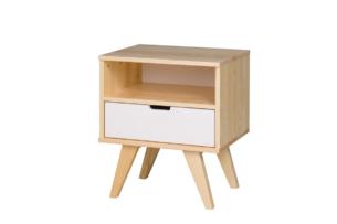 MONTI, https://konsimo.pl/kolekcja/monti/ Stolik nocny z szufladą w skandynawskim stylu biały / naturalny dąb/biały - zdjęcie