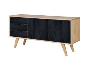 MONTI, https://konsimo.pl/kolekcja/monti/ Duża komoda z półkami i szufladami w stylu skandynawskim czarna / naturalna sosna naturalna/czarny - zdjęcie