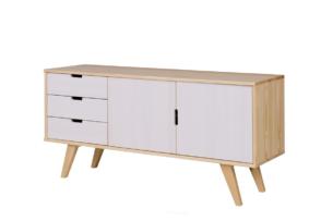 MONTI, https://konsimo.pl/kolekcja/monti/ Duża komoda z półkami i szufladami w stylu skandynawskim biała / naturalna dąb/biały - zdjęcie