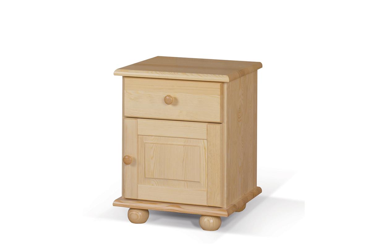 Drewniana szafka nocna z szufladami i półkami