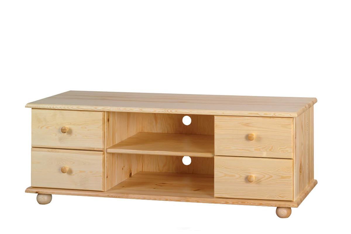 Drewniana podwójna szafka RTV z szufladami