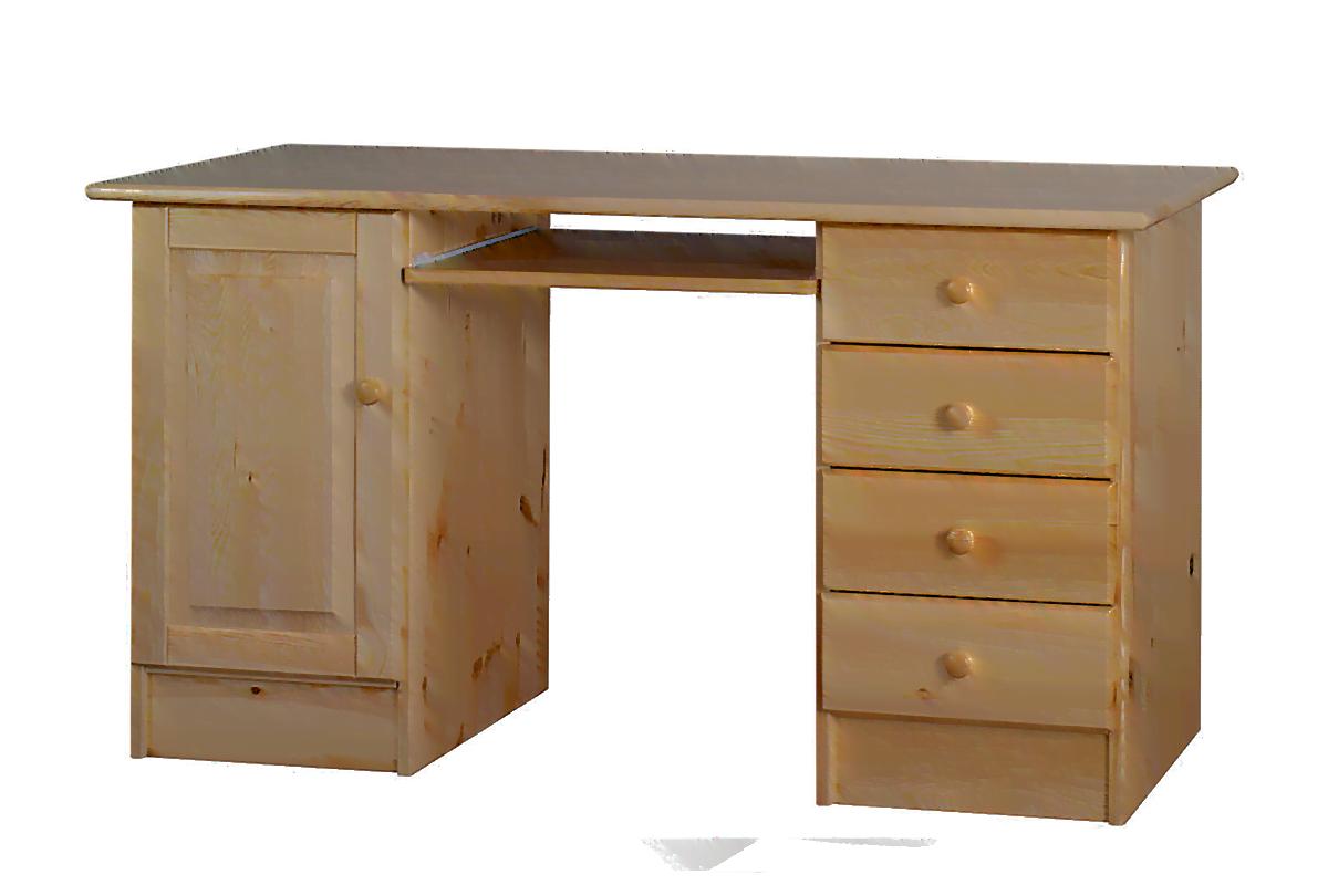 Duże drewniane biurko z półkami i szufladami