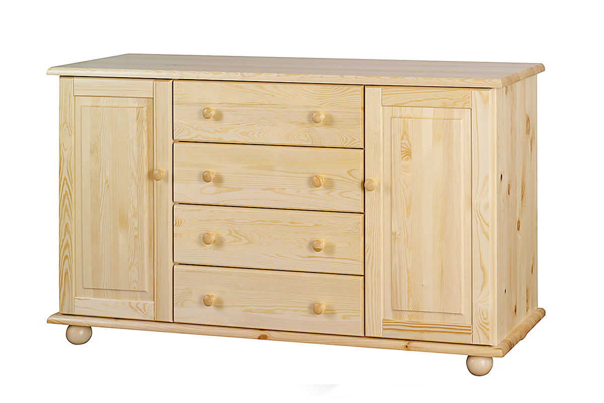 Drewniana komoda z półkami i szufladami