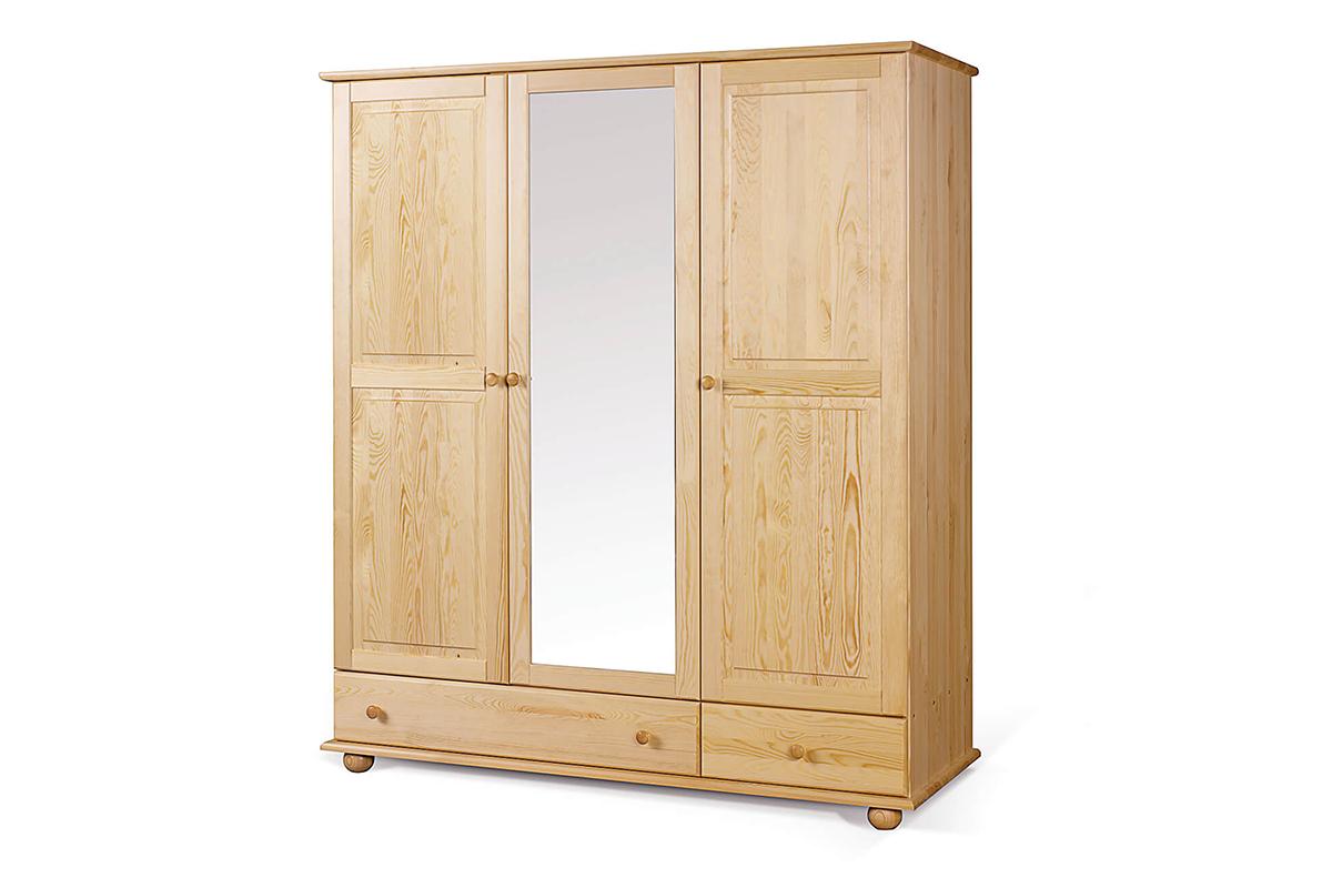 Drewniana szafa ubraniowa z lustrem