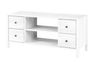 CUCULI, https://konsimo.pl/kolekcja/cuculi/ Sosnowa szafka rtv z szufladami 120 cm biała biały - zdjęcie