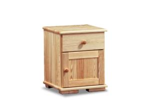 LISSO, https://konsimo.pl/kolekcja/lisso/ Szafka nocna z półkami i szufladą sosnowa sosna naturalna - zdjęcie