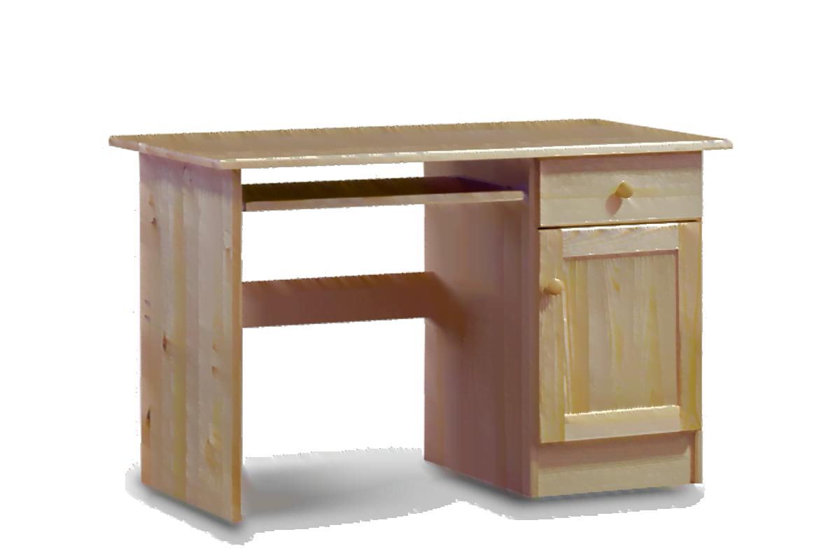 Biurko sosnowe 110 cm z szufladą i półkami