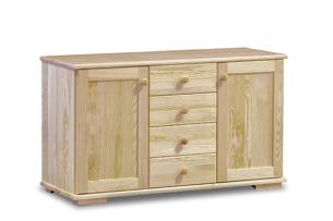 LISSO, https://konsimo.pl/kolekcja/lisso/ Pojemna komoda z szufladami i półkami sosnowa 115 cm sosna naturalna - zdjęcie