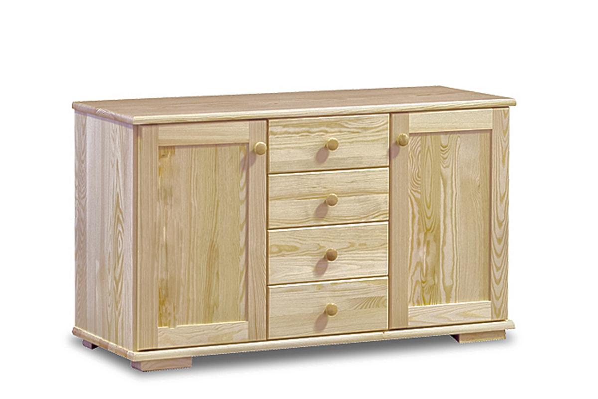 Pojemna komoda z szufladami i półkami sosnowa 115 cm