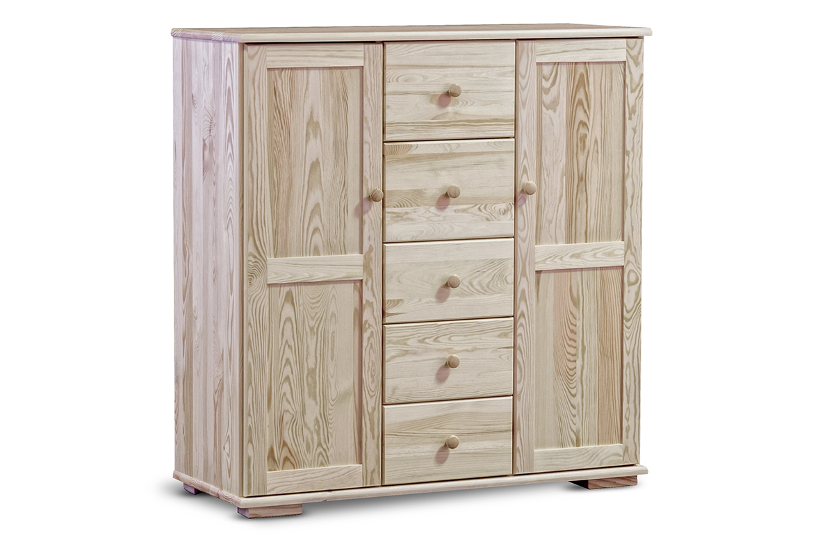 Wysoka pojemna komoda z półkami i szufladami sosnowa