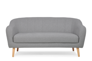 HAMPI, https://konsimo.pl/kolekcja/hampi/ Skandynawska sofa 2 osobowa na drewnianych nóżkach szara ciemny szary - zdjęcie