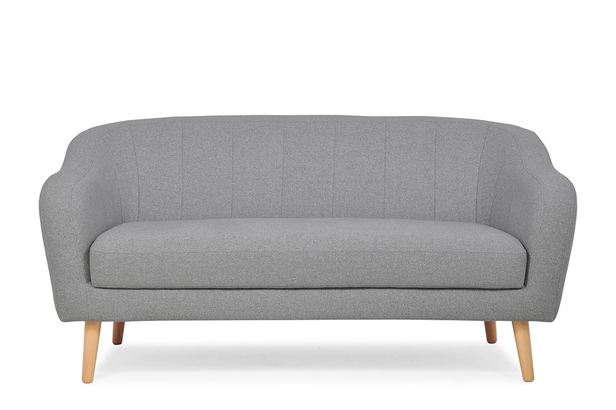 Skandynawska sofa 2 osobowa na drewnianych nóżkach szara