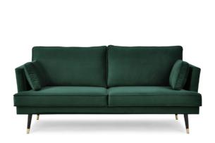 FALCO, https://konsimo.pl/kolekcja/falco/ Sofa trzyosobowa welurowa glamour butelkowa zieleń zielony - zdjęcie