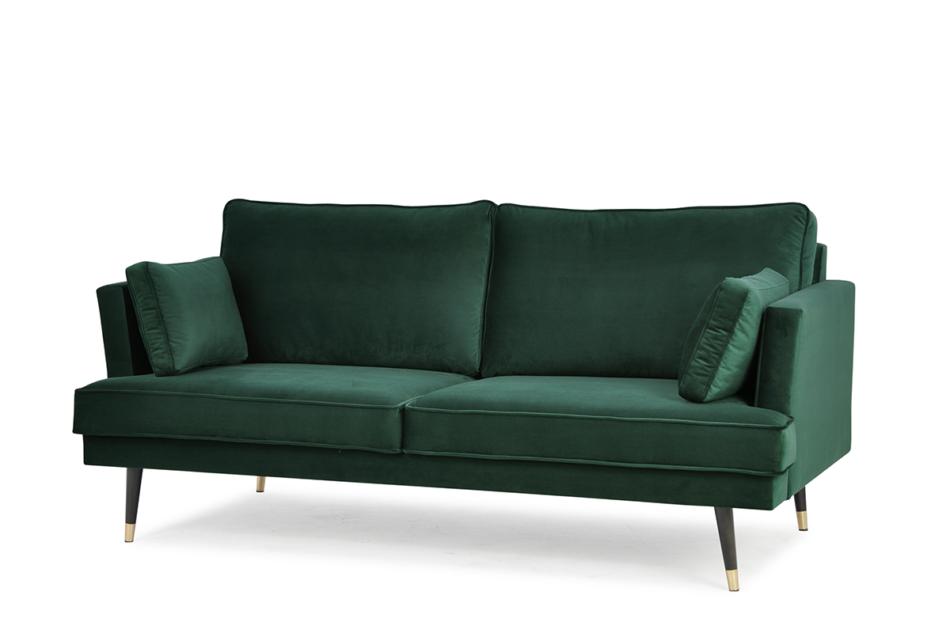 FALCO Sofa trzyosobowa welurowa glamour butelkowa zieleń zielony - zdjęcie 1