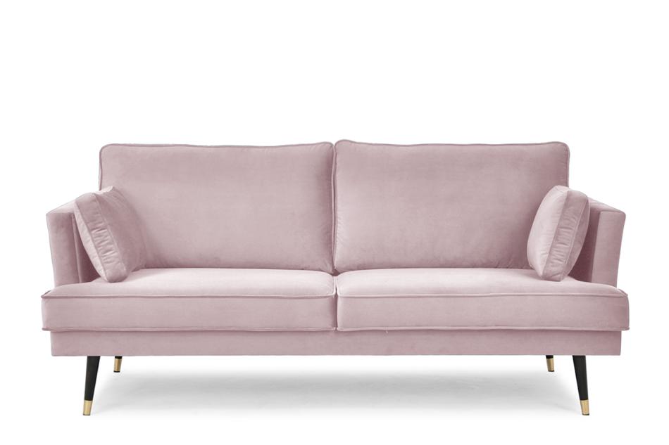 FALCO Sofa trzyosobowa welurowa glamour różowa różowy - zdjęcie 0