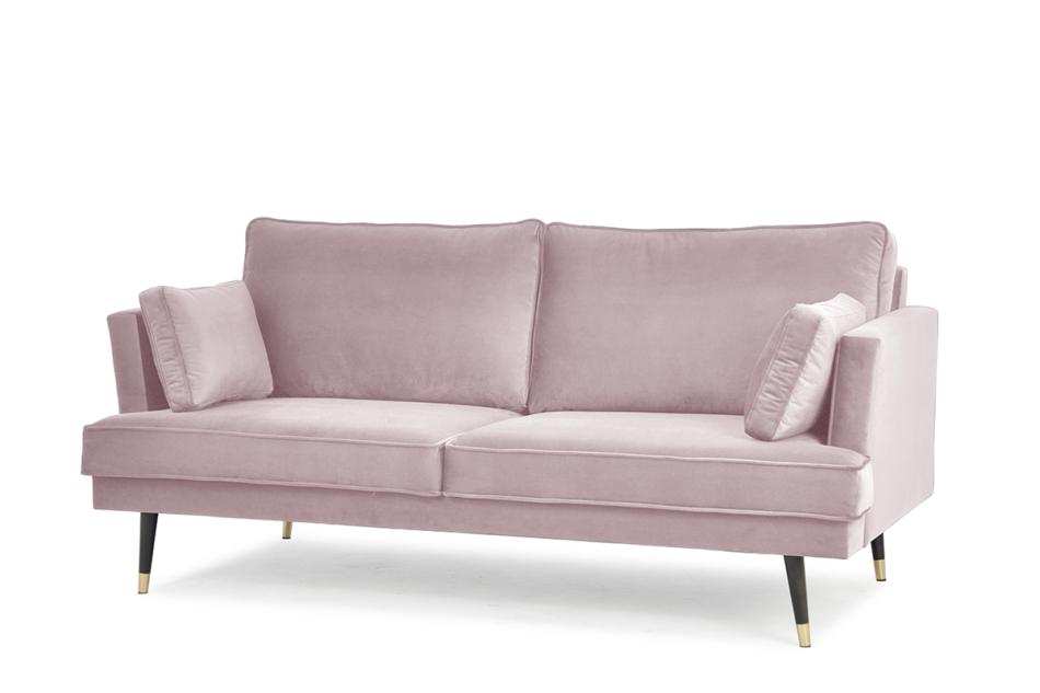 FALCO Sofa trzyosobowa welurowa glamour różowa różowy - zdjęcie 1