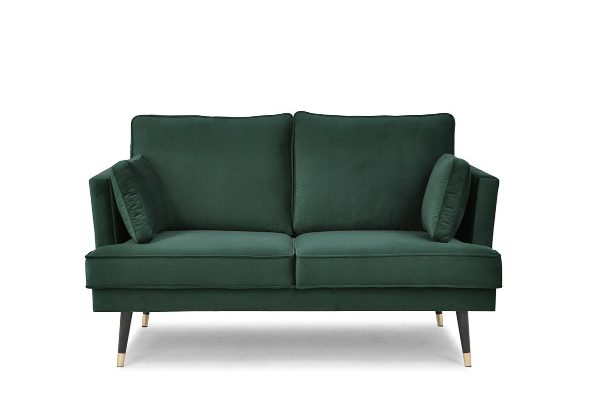Sofa dwuosobowa welurowa glamour butelkowa zieleń