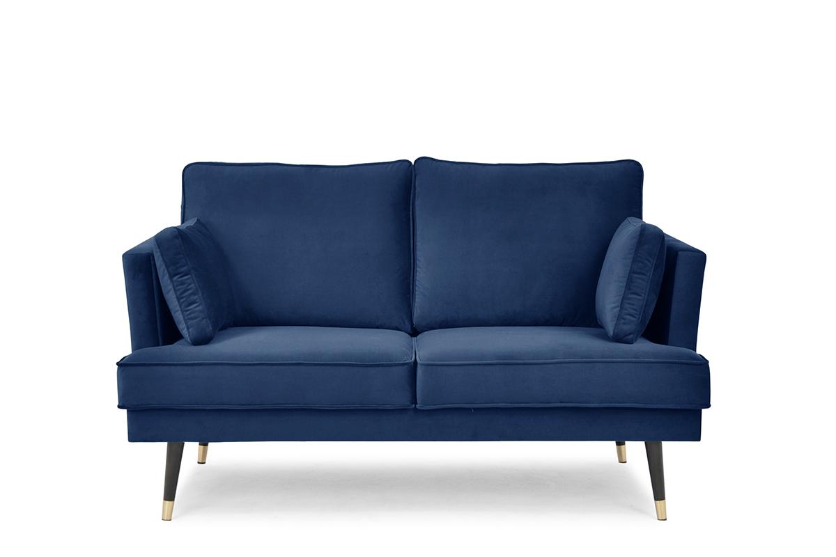 Sofa dwuosobowa welurowa glamour granatowa