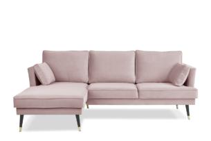 FALCO, https://konsimo.pl/kolekcja/falco/ Narożnik lewy welurowy glamour różowy różowy - zdjęcie