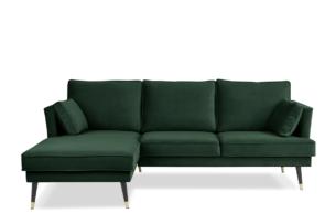 FALCO, https://konsimo.pl/kolekcja/falco/ Narożnik lewy welurowy glamour butelkowa zieleń zielony - zdjęcie