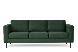 TOZZI, https://konsimo.pl/kolekcja/tozzi/ Welurowa sofa 3 osobowa na metalowych nóżkach butelkowa zieleń zielony - zdjęcie