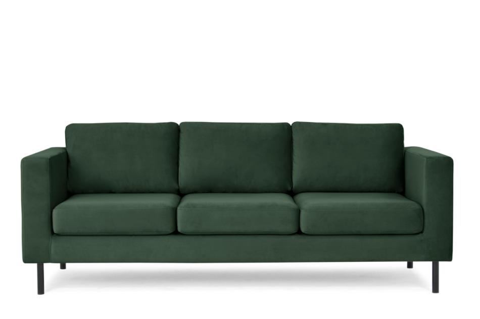 TOZZI Welurowa sofa 3 osobowa na metalowych nóżkach butelkowa zieleń zielony - zdjęcie 0