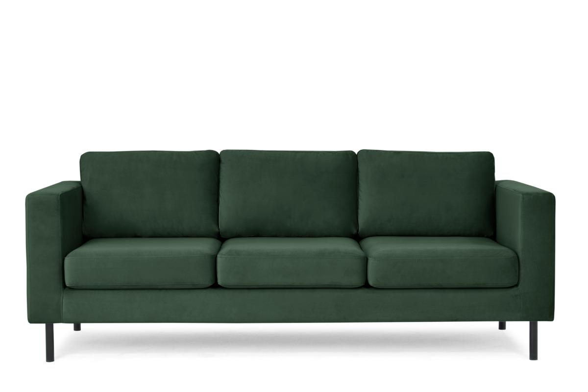 Welurowa sofa 3 osobowa na metalowych nóżkach butelkowa zieleń