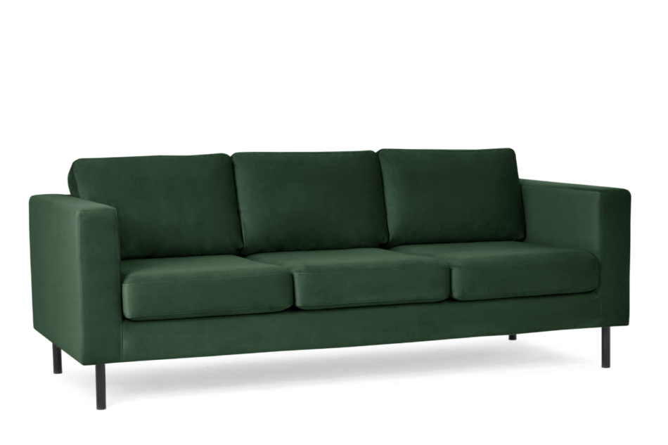 TOZZI Welurowa sofa 3 osobowa na metalowych nóżkach butelkowa zieleń zielony - zdjęcie 1