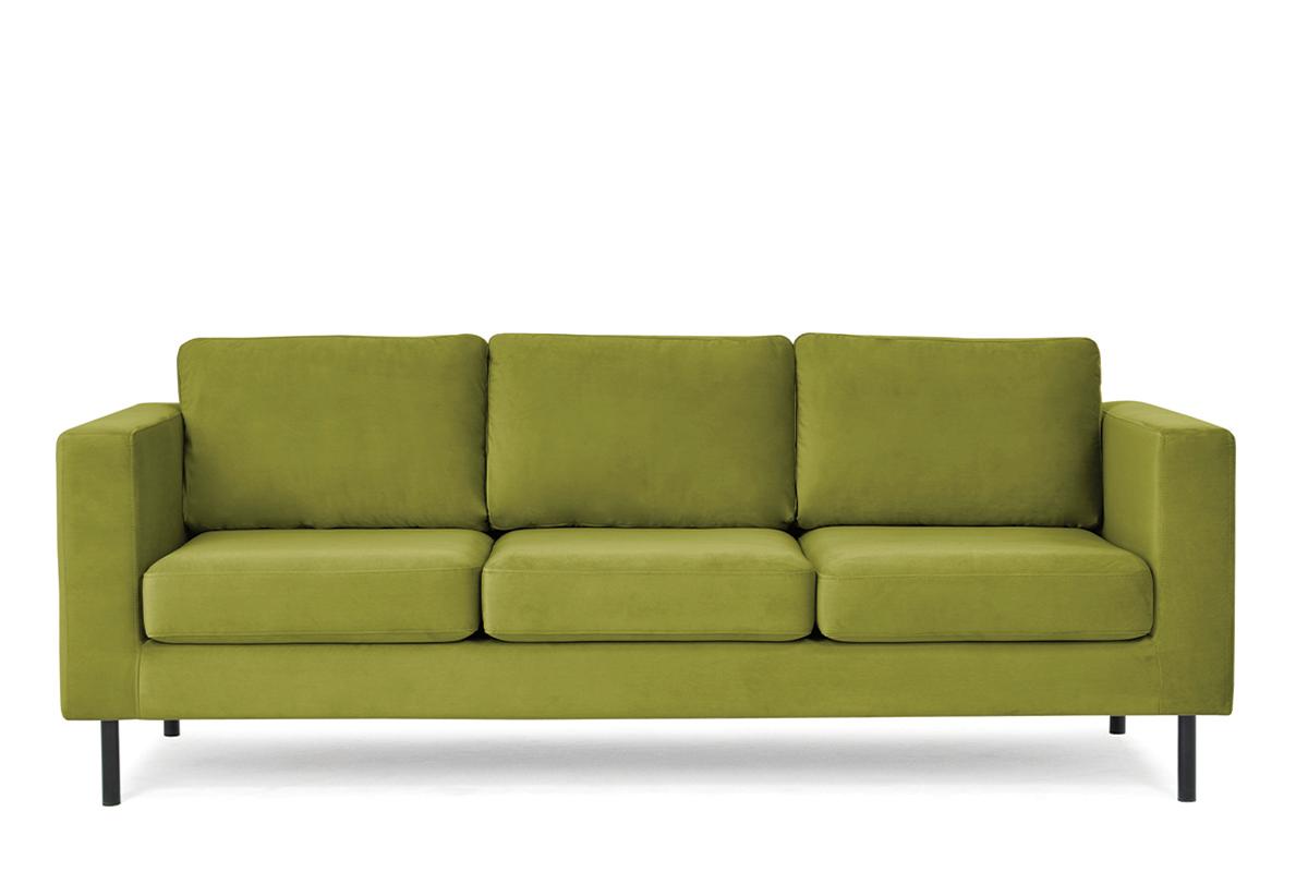 Welurowa sofa 3 osobowa na metalowych nóżkach oliwkowa