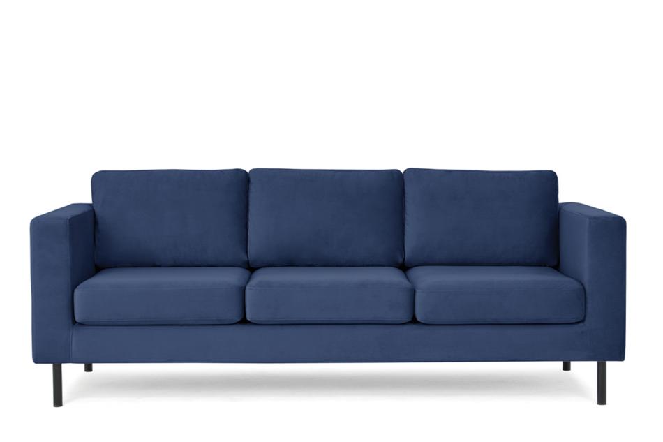 TOZZI Welurowa sofa 3 osobowa na metalowych nóżkach granatowa granatowy - zdjęcie 0