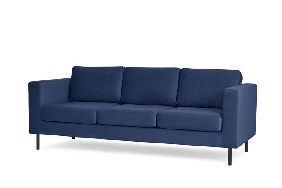 TOZZI Welurowa sofa 3 osobowa na metalowych nóżkach granatowa granatowy - zdjęcie 1