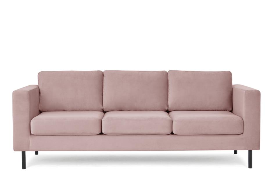 TOZZI Welurowa sofa 3 osobowa na metalowych nóżkach różowa różowy - zdjęcie 0