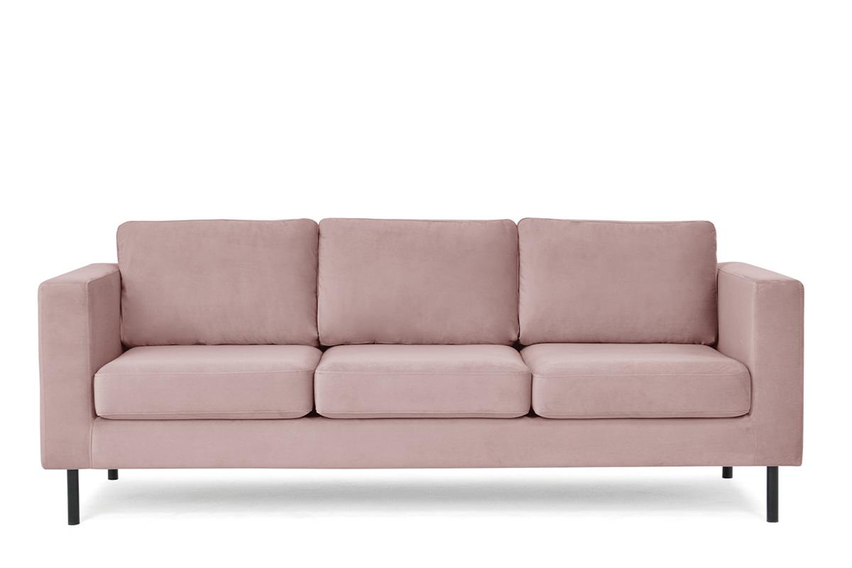 Welurowa sofa 3 osobowa na metalowych nóżkach różowa
