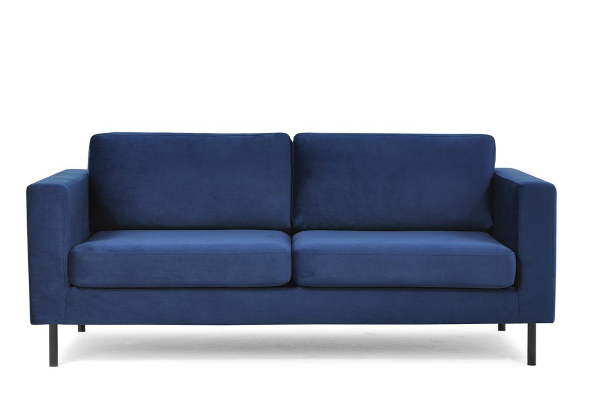 Welurowa sofa 200 cm na metalowych nóżkach granatowa
