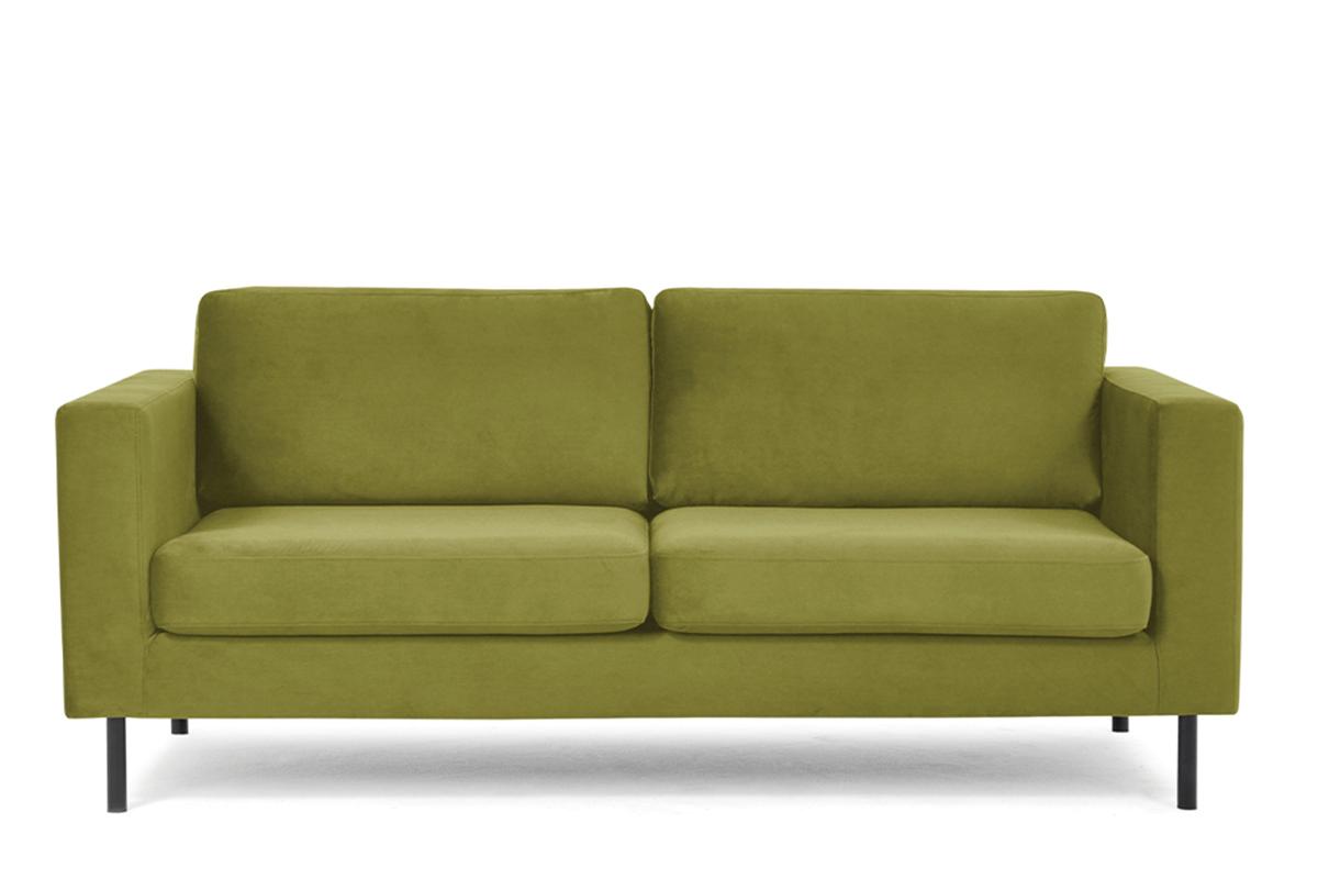 Welurowa sofa 200 cm na metalowych nóżkach oliwkowa
