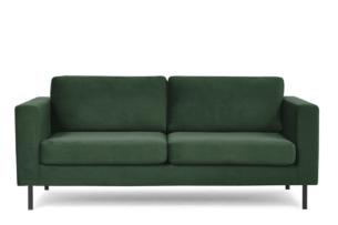 TOZZI, https://konsimo.pl/kolekcja/tozzi/ Welurowa sofa 200 cm na metalowych nóżkach butelkowa zieleń zielony - zdjęcie