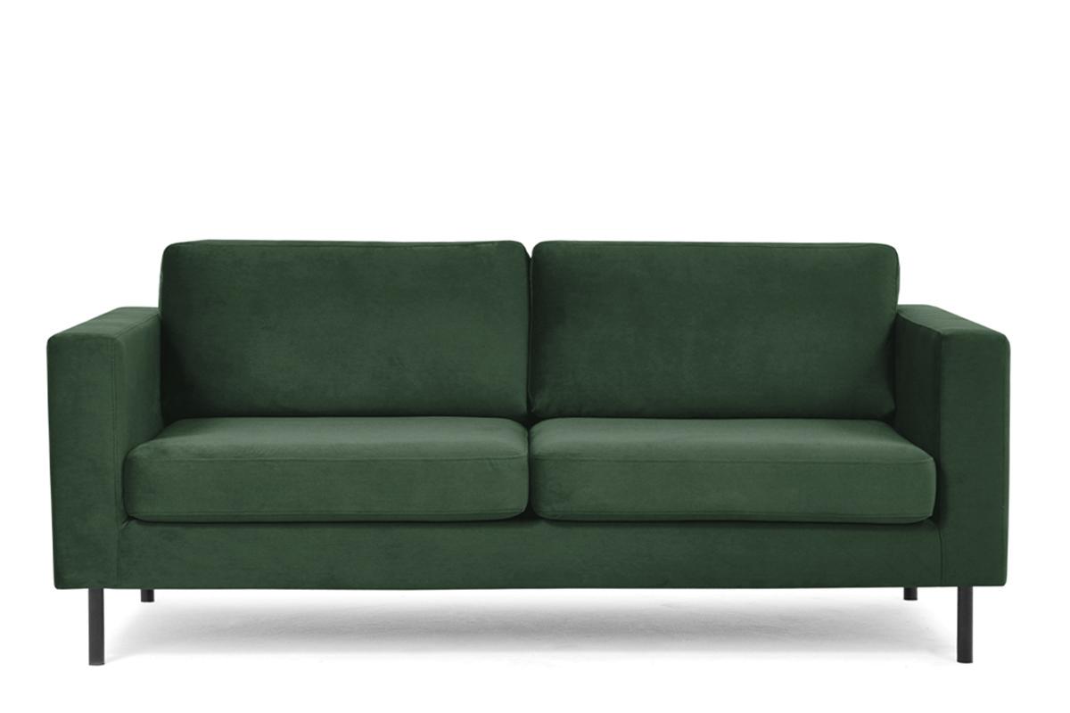 Welurowa sofa 200 cm na metalowych nóżkach butelkowa zieleń