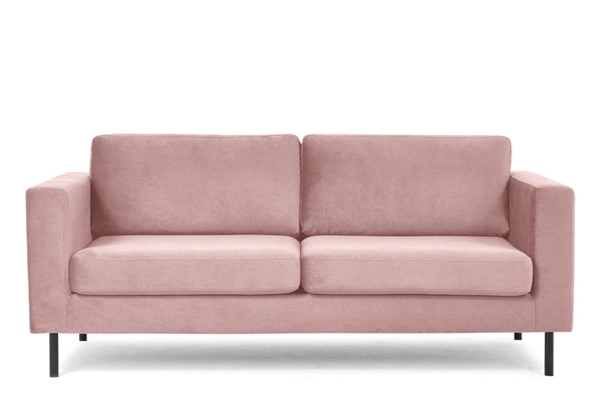 Welurowa sofa 200 cm na metalowych nóżkach różowa