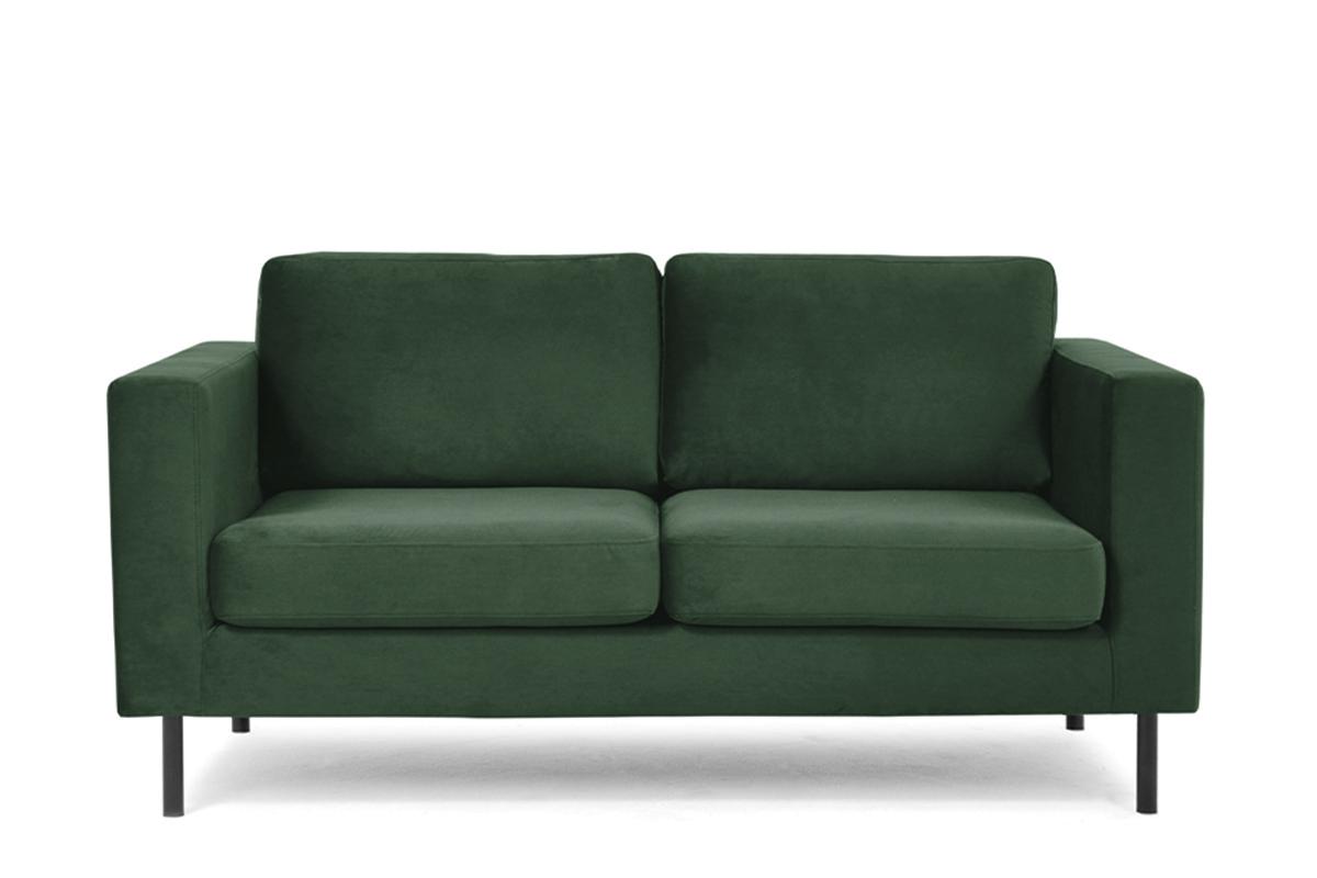 Welurowa sofa 2 osobowa na metalowych nóżkach butelkowa zieleń