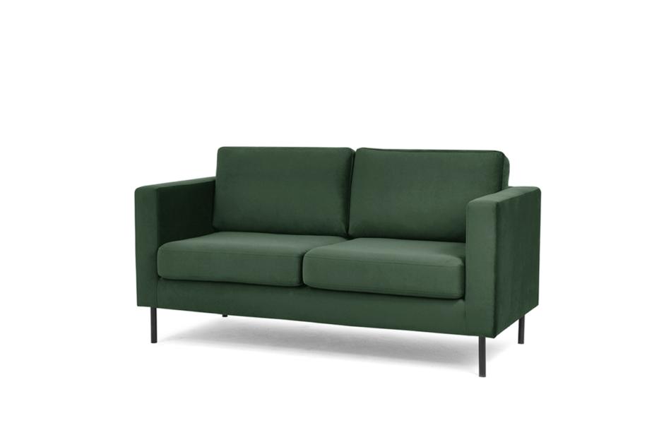 TOZZI Welurowa sofa 2 osobowa na metalowych nóżkach butelkowa zieleń zielony - zdjęcie 1