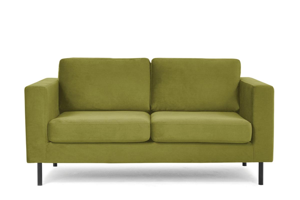 Welurowa sofa 2 osobowa na metalowych nóżkach oliwkowa