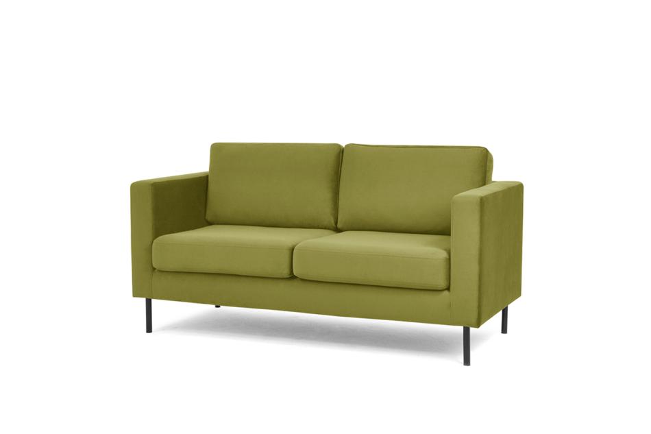 TOZZI Welurowa sofa 2 osobowa na metalowych nóżkach oliwkowa oliwkowy - zdjęcie 1