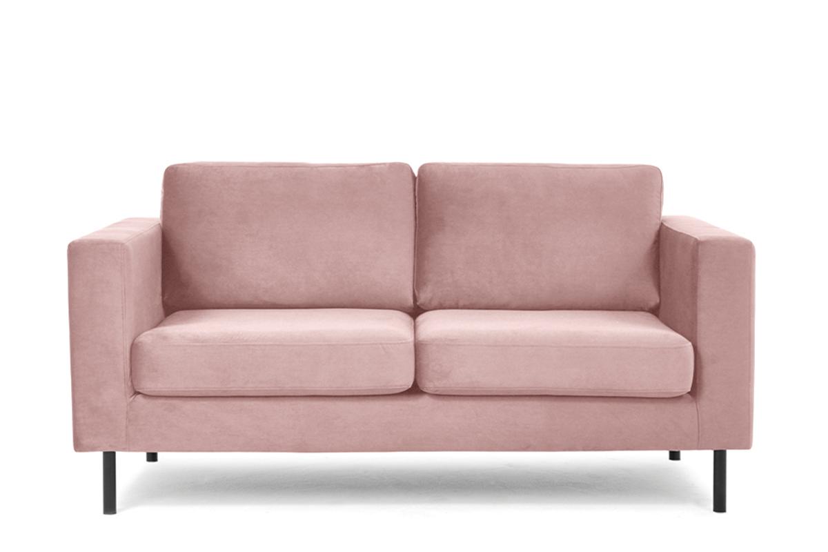 Welurowa sofa 2 osobowa na metalowych nóżkach różowa