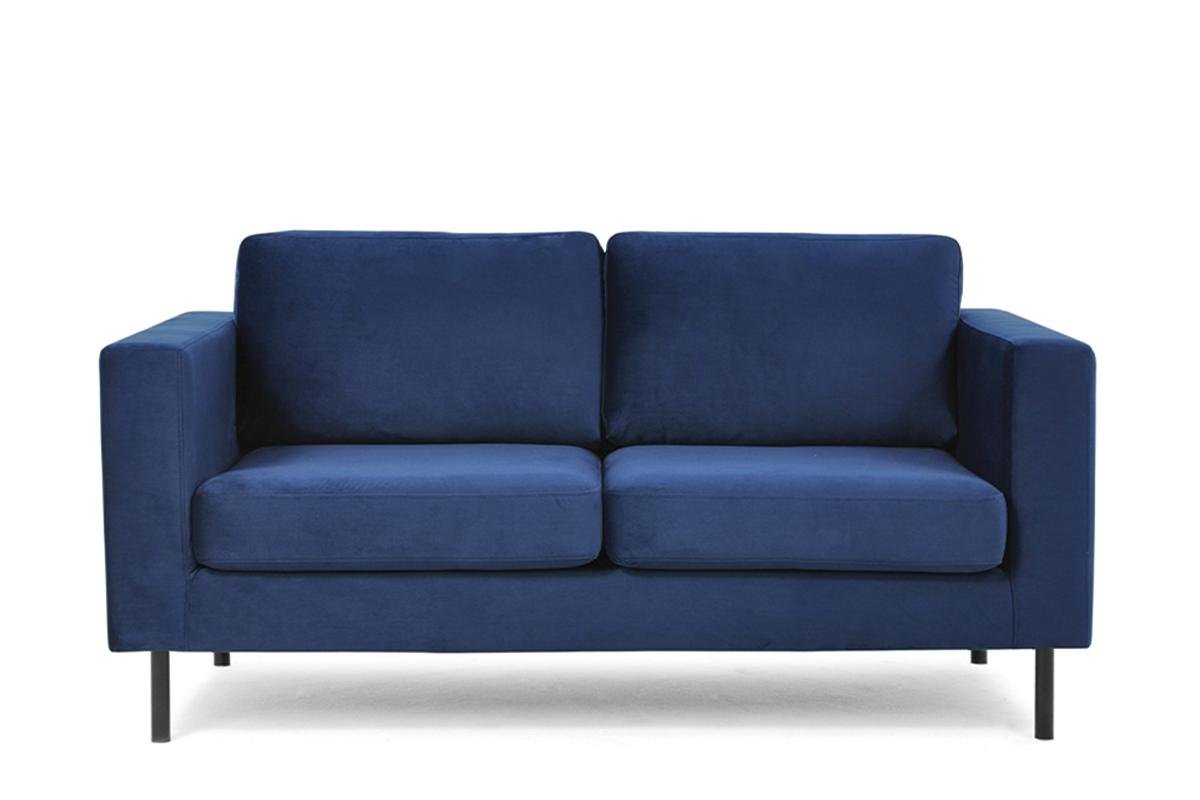 Welurowa sofa 2 osobowa na metalowych nóżkach granatowa
