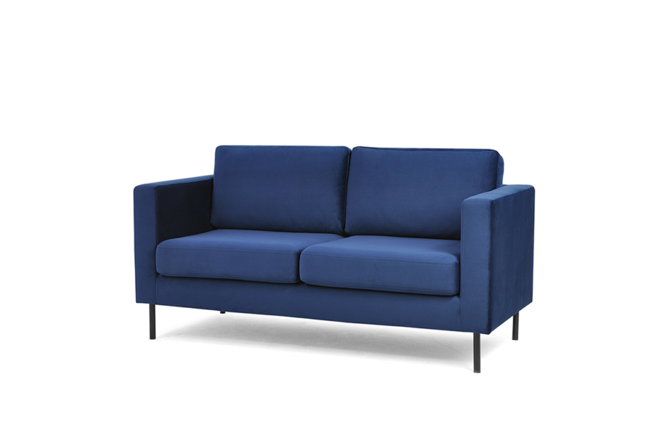 TOZZI Welurowa sofa 2 osobowa na metalowych nóżkach granatowa granatowy - zdjęcie 1
