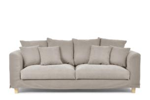 BRYONI, https://konsimo.pl/kolekcja/bryoni/ Sofa 3 osobowa z dodatkowymi poduszkami beżowa beżowy - zdjęcie